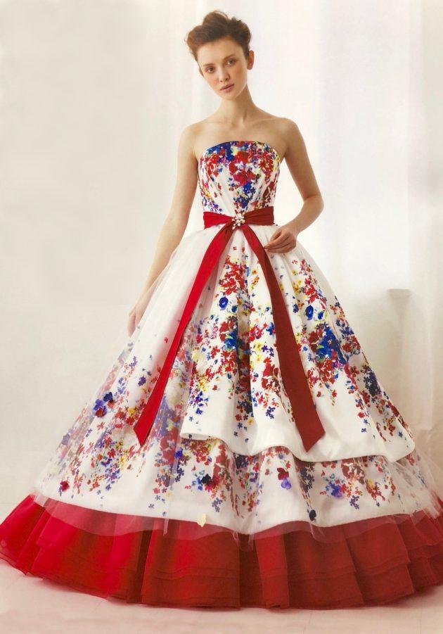 インポート花柄のカラードレス